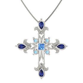Princess Blue Topaz Platinum Pendant with Blue Sapphire and Blue Topaz