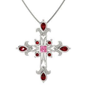 Princess Pink Tourmaline Platinum Necklace with Ruby