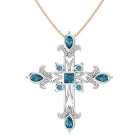 Princess London Blue Topaz Sterling Silver Pendant with London Blue Topaz