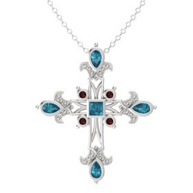 Princess London Blue Topaz Sterling Silver Pendant with London Blue Topaz and Red Garnet
