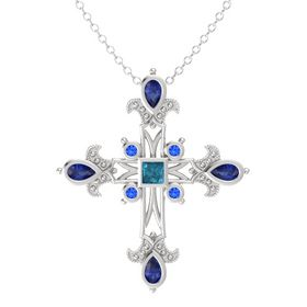 Princess London Blue Topaz Sterling Silver Pendant with Blue Sapphire