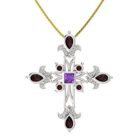 Princess Amethyst Sterling Silver Pendant with Red Garnet