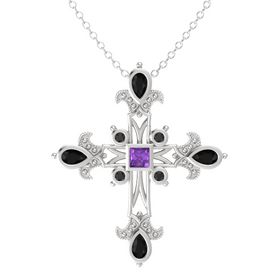 Princess Amethyst Sterling Silver Pendant with Black Onyx and Black Diamond