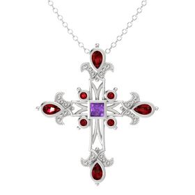 Princess Amethyst Sterling Silver Pendant with Ruby