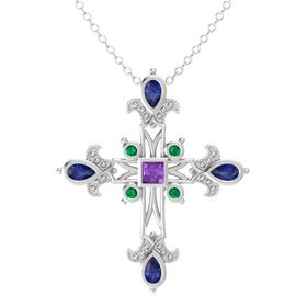 Princess Amethyst Sterling Silver Pendant with Blue Sapphire and Emerald