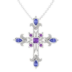 Princess Amethyst Sterling Silver Pendant with Tanzanite and Amethyst