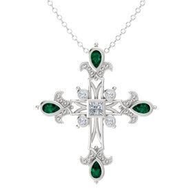 Princess Diamond Sterling Silver Pendant with Emerald and Diamond