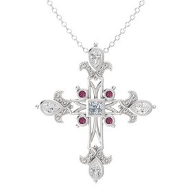 Princess Diamond Sterling Silver Pendant with White Sapphire and Rhodolite Garnet