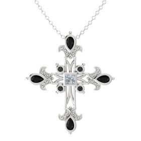 Princess Diamond Sterling Silver Pendant with Black Onyx and Black Diamond