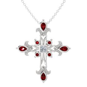 Princess Diamond Sterling Silver Pendant with Ruby
