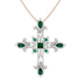 Princess Emerald Sterling Silver Pendant with Emerald