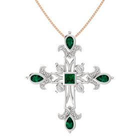 Princess Emerald Sterling Silver Pendant with Emerald and White Sapphire
