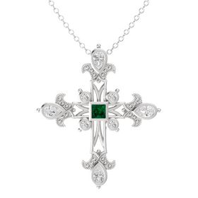 Princess Emerald Sterling Silver Pendant with White Sapphire