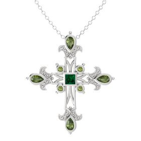 Princess Emerald Sterling Silver Necklace with Green Tourmaline