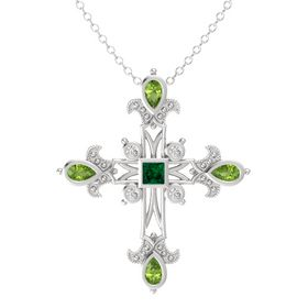 Princess Emerald Sterling Silver Pendant with Peridot and White Sapphire