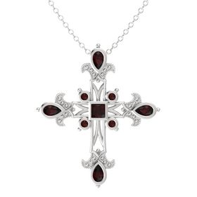 Princess Red Garnet Sterling Silver Necklace with Red Garnet