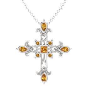 Princess Citrine Sterling Silver Pendant with Citrine