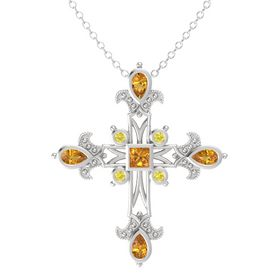 Princess Citrine Sterling Silver Pendant with Citrine and Yellow Sapphire