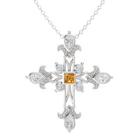 Princess Citrine Sterling Silver Pendant with White Sapphire and Diamond