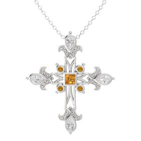 Princess Citrine Sterling Silver Pendant with White Sapphire and Citrine
