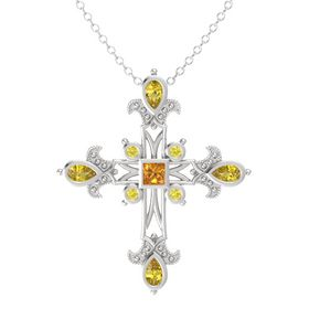 Princess Citrine Sterling Silver Pendant with Yellow Sapphire