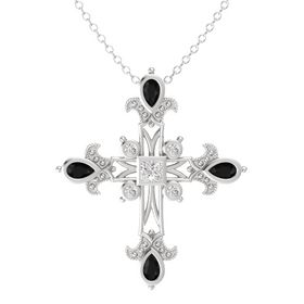 Princess White Sapphire Sterling Silver Pendant with Black Onyx and White Sapphire