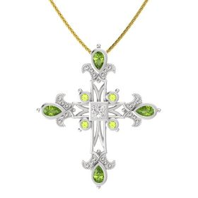 Princess White Sapphire Sterling Silver Pendant with Peridot