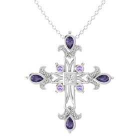 Princess White Sapphire Sterling Silver Pendant with Iolite