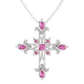 Princess Pink Sapphire Sterling Silver Pendant with Pink Sapphire and Pink Tourmaline