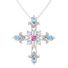Princess Pink Sapphire Sterling Silver Pendant with Aquamarine