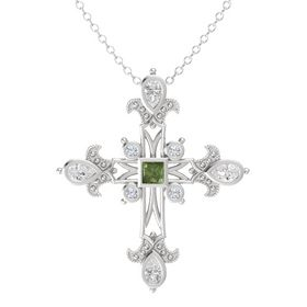 Princess Green Tourmaline Sterling Silver Pendant with White Sapphire and Diamond