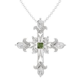 Princess Green Tourmaline Sterling Silver Pendant with White Sapphire