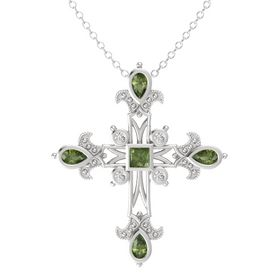 Princess Green Tourmaline Sterling Silver Pendant with Green Tourmaline and White Sapphire