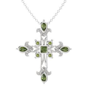 Princess Green Tourmaline Sterling Silver Pendant with Green Tourmaline