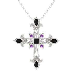 Princess Black Onyx Sterling Silver Pendant with Black Onyx and Amethyst