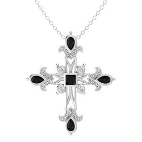 Princess Black Onyx Sterling Silver Necklace with Black Onyx & White Sapphire