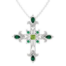 Princess Peridot Sterling Silver Pendant with Emerald