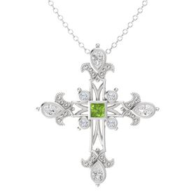 Princess Peridot Sterling Silver Pendant with White Sapphire and Diamond