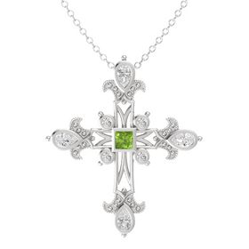 Princess Peridot Sterling Silver Pendant with White Sapphire