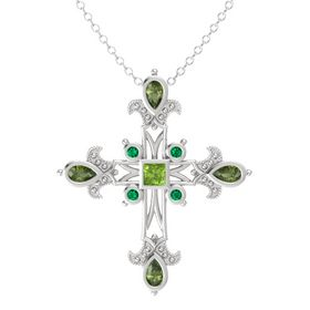 Princess Peridot Sterling Silver Pendant with Green Tourmaline and Emerald