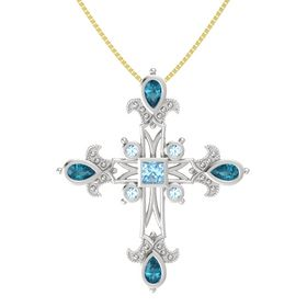 Princess Aquamarine Sterling Silver Pendant with London Blue Topaz and Aquamarine