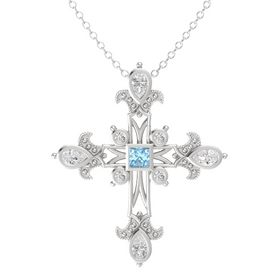 Princess Aquamarine Sterling Silver Pendant with White Sapphire
