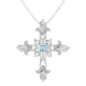 Princess Aquamarine Sterling Silver Pendant with White Sapphire and Aquamarine