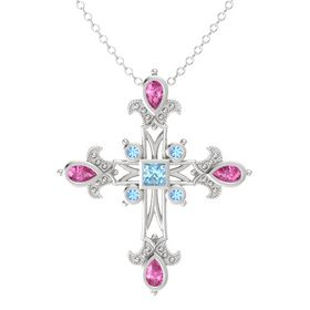 Princess Aquamarine Sterling Silver Pendant with Pink Sapphire and Blue Topaz