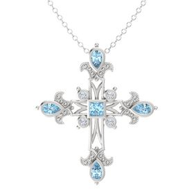 Princess Aquamarine Sterling Silver Pendant with Aquamarine and Diamond