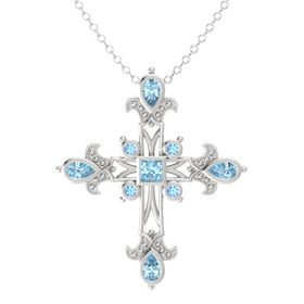 Princess Aquamarine Sterling Silver Pendant with Aquamarine and Blue Topaz