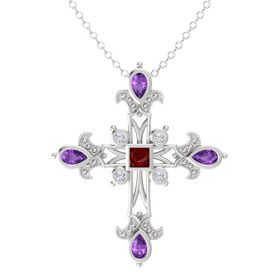Princess Ruby Sterling Silver Pendant with Amethyst and Diamond