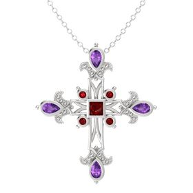 Princess Ruby Sterling Silver Pendant with Amethyst and Ruby