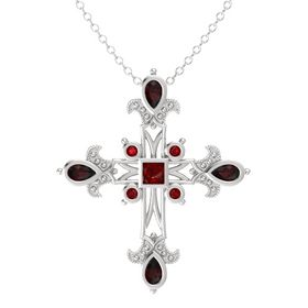 Princess Ruby Sterling Silver Pendant with Red Garnet and Ruby