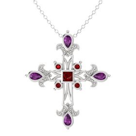 Princess Ruby Sterling Silver Pendant with Rhodolite Garnet and Ruby